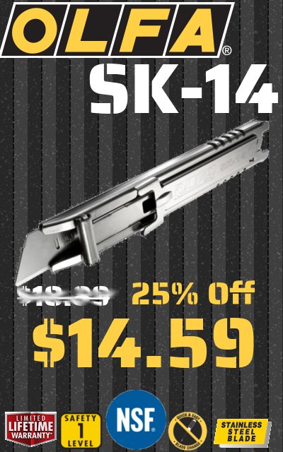 Olfa SK14 Sale, 25% off, was 18.99 now 14.59, limited time only, OLFA SK14 All metal safety knife, no rust, safe for food