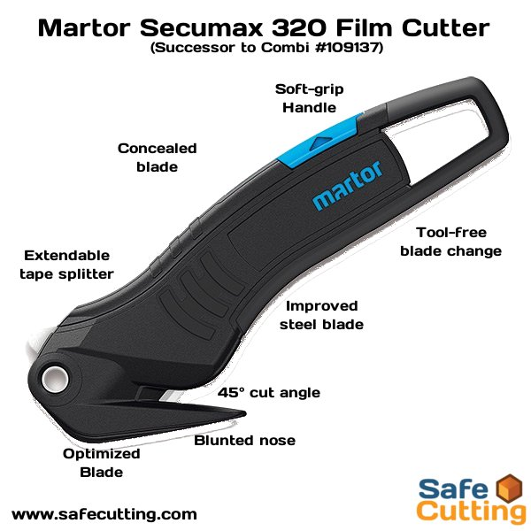 safecutting martor secumax 320 replacment knife for the combi knife, softgrip, 35 cut angle